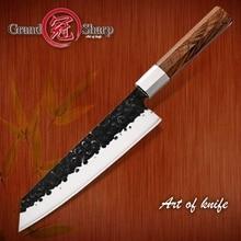 새로운 2019 GRANDSHARP 수제 요리사 칼 일본어 Kiritsuke 스테인레스 스틸 슬라이스 주방 요리 도구 나무 손잡이 선물 상자