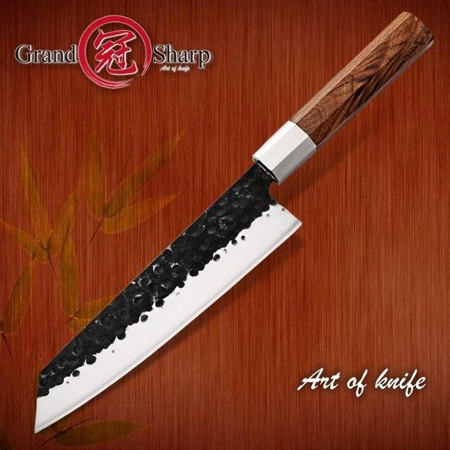 NEW 2019 GRANDSHARP Handmade Chef Knife Japanese Kiritsuke  Stainless Steel Slicing Kitchen Cooking Tools Wood Handle Gift Box