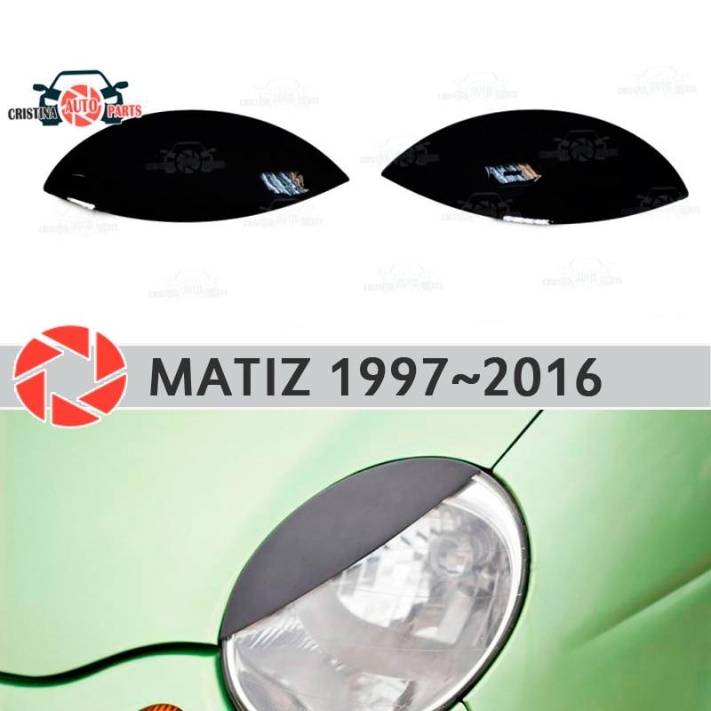 цена на Eyebrows for Daewoo Matiz 1997~2016 for headlights cilia eyelash plastic moldings decoration trim car styling molding