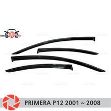 Окна отражатель для Nissan Primera P12 2001-2008 Дождь Отражатель грязь защиты Тюнинг автомобилей украшения аксессуары для литья