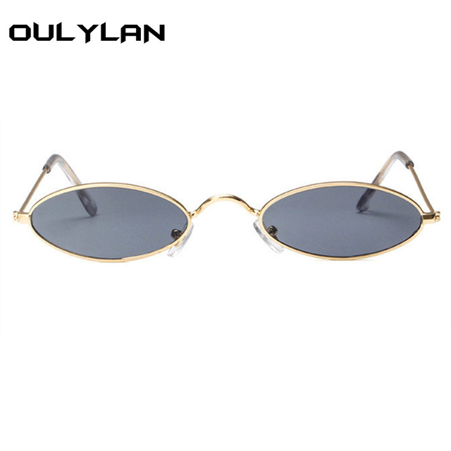 250fcc1d12 Oulylan Small Oval Sunglasses Men Women Retro Metal Frame Yellow Red Vintage  Tiny Round Skinny Male ...