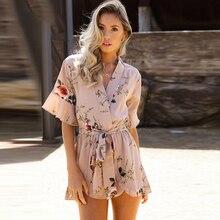 2ad5f8c4ca 2018 Chiffon Floral Print Ruffles Playsuits Women Elegant Summer V Neck  Jumpsuits Rompers Sexy Beach Girls