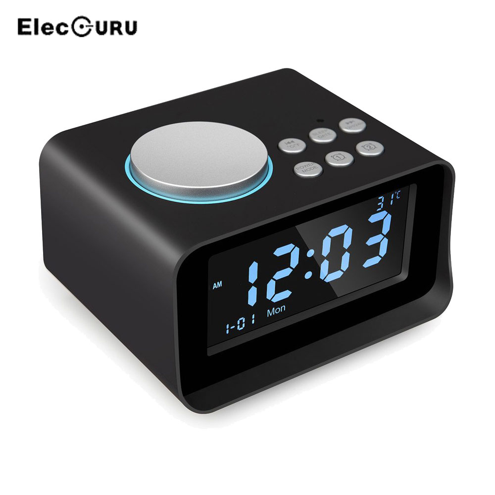 Portable Wireless Bluetooth Speaker TF Card/AUX/USB Music Play Loudspeaker Digital Alarm Clock+FM Radio+Temperature Time Display