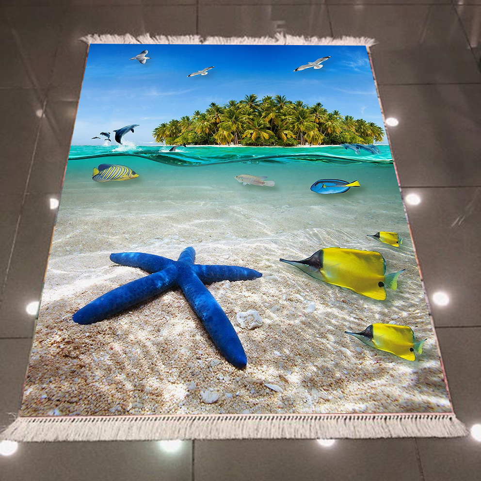 Else Tropical Green Island Under Sea Fish Stars 3d Print Microfiber Anti Slip Back Washable Decorative Kilim Area Rug Carpet