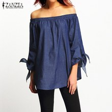 c15982780 2017 Autumn ZANZEA Women Sexy Off Shoulder Blouse Shirts Elastic Slash Neck  3/4 Sleeves Solid Bownot Loose Casual Split Hem Tops