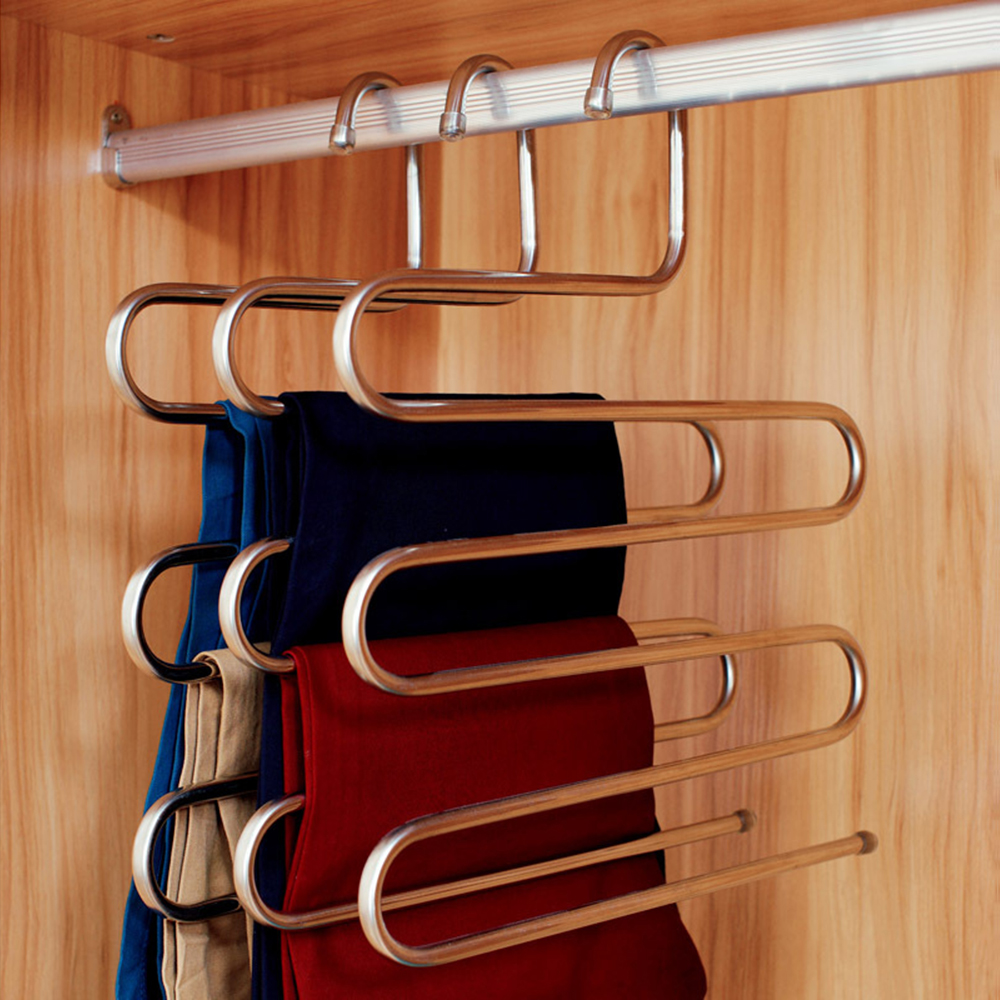 2pcs/lot 39.2cm stainless steel S type wardrobe suspenders hang coat hanger multi-pant tube 5 layers save space