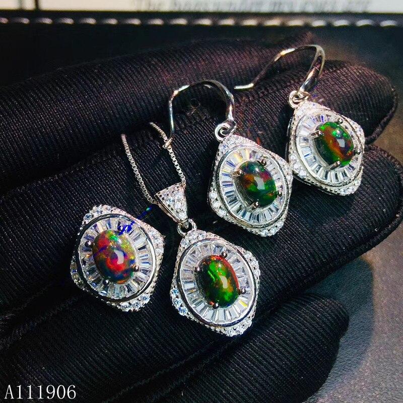KJJEAXCMY изысканное ювелирное изделие из стерлингового серебра 925 пробы, инкрустированный драгоценный камень, натуральный черный опал, женски