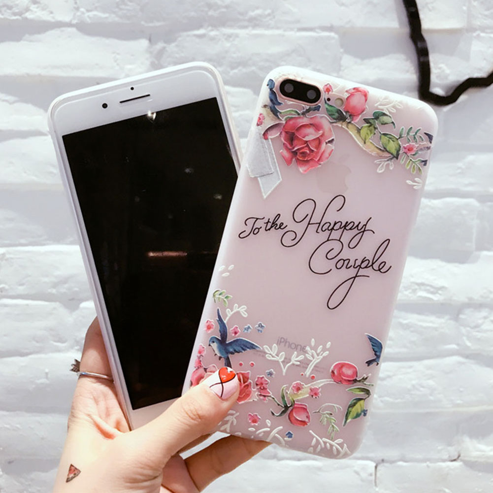 FancyQbue Girl Emboss Print Rose Flower Cover Clear TPU Silicon Shell Soft CasesPhone Case for iPhone Cases
