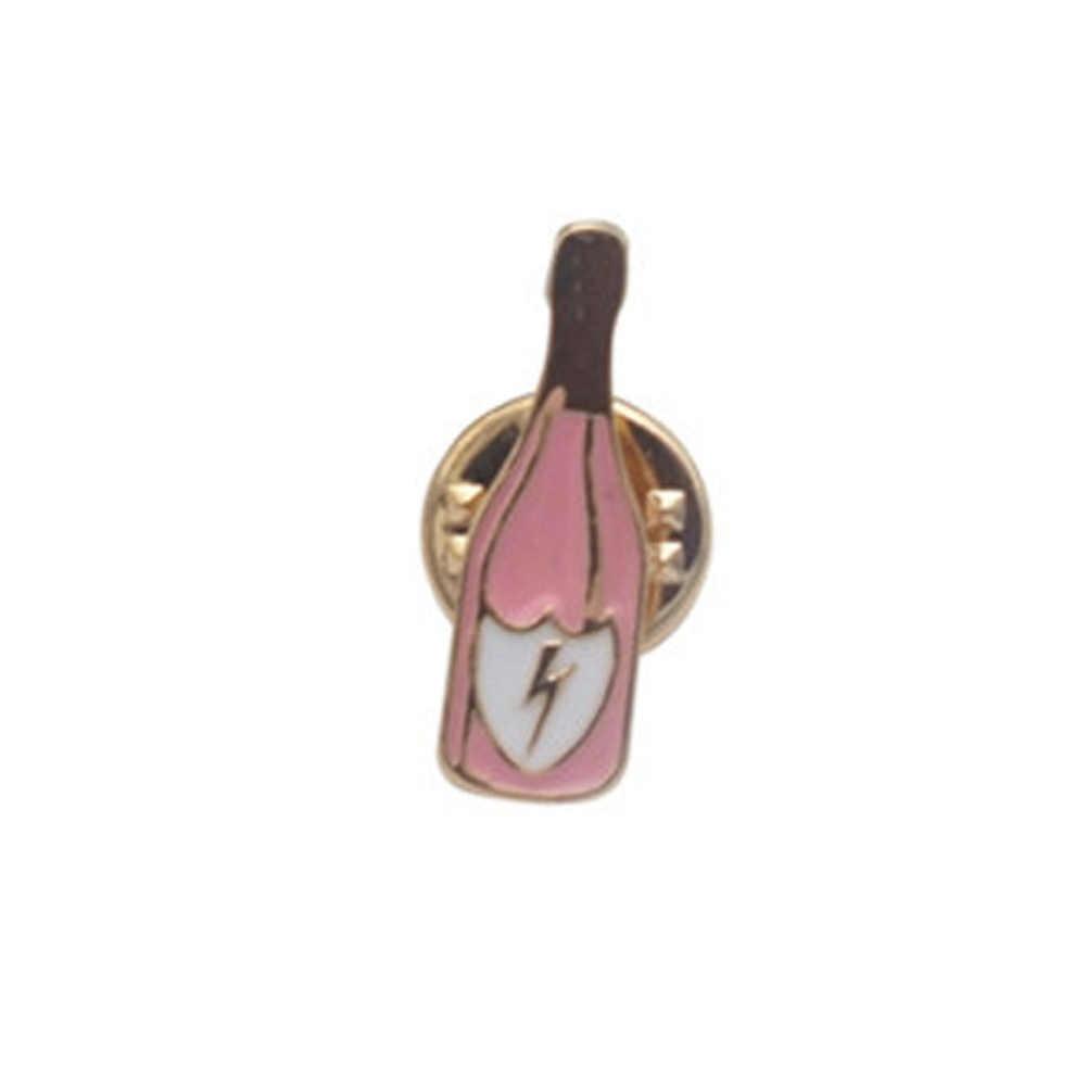 Della lega Dello Smalto Rosa Tazza di Vetro di Vino Bottiglia di Mano Rose Cat Broche Distintivi Pins Sicuro Brooche Sciarpa Regali New tendenza