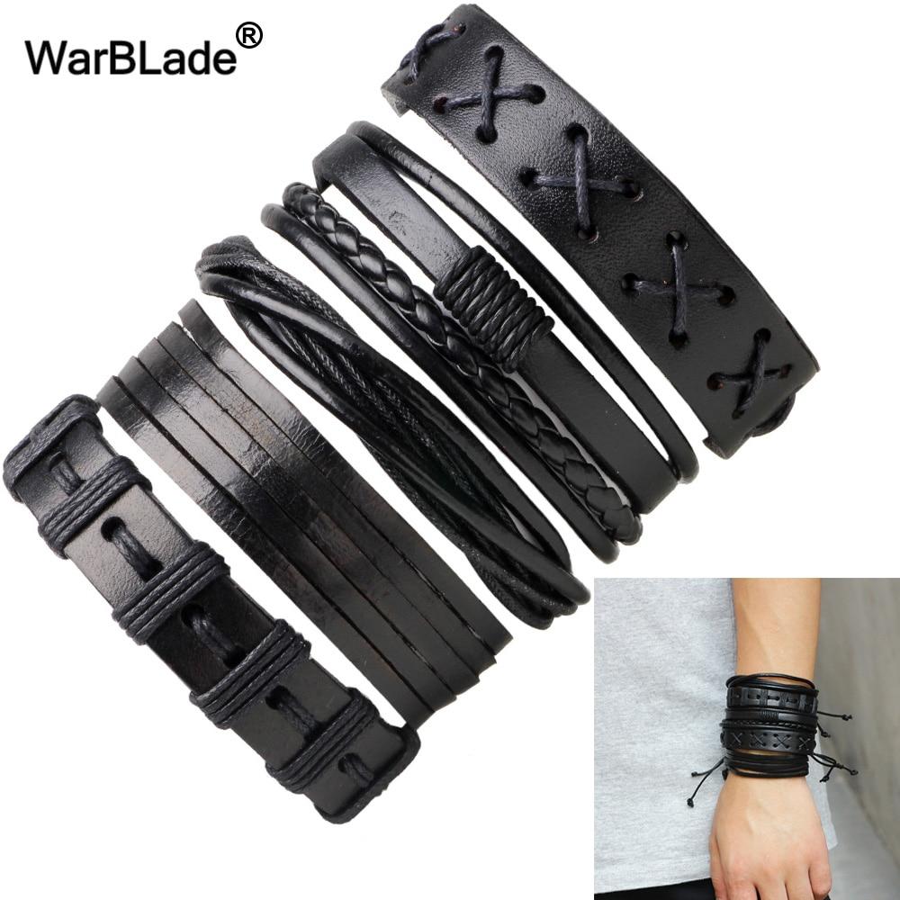 WarBLade Black Genuine Leather Bracelets Vintage Multilayer Braid Bracelet Bangle Punk Wrap Wristband For Women Men Jewelry 5pcs