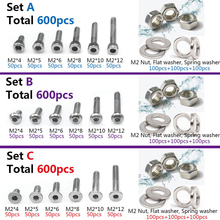 600pcs M2 304 Stainless Steel Allen Screws Bolt With Hex Nuts Washers Assortment 600pcs stainless steel screws nuts assortment kit 12 kinds of nuts screws m1 m1 2 m1 4 m1 6 for hardware accessoires