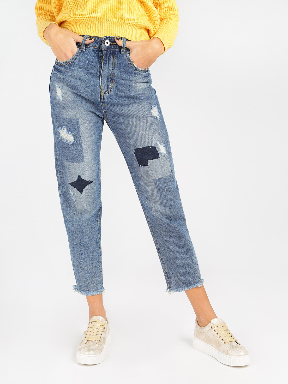 Woman Boyfriend Type Patch Open Jeans