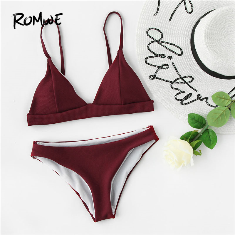 Romwe Sport Female Seam Detail Triangle Bikini Set 2018 New Arrival Burgundy Plain Woman Clothing Vacation Bikinis
