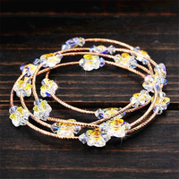 SWAN 4 Stand Multilayer Stretch Crystal butterfly Bracelet S925 Silver Plated Rose Gold Trendy Bracelets Sweet Girls Jewelry