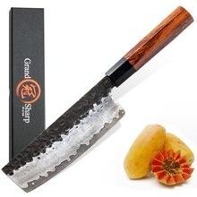 Nakiri มีด Hand Forged มีดครัวญี่ปุ่น AUS10 3 ชั้นไม้ธรรมชาติสิ่งแวดล้อมผลิตภัณฑ์ Grandsharp มีดเชฟ