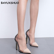 BAYUXSHUO Brand Women Pumps Clear PVC High Heels Sandals Poi