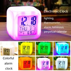 LED Alarm Clock 7 Color Changing Digital Desk Gadget Digital Alarm Thermometer Night Glowing Sleeping LED Clock Home Office TSLM