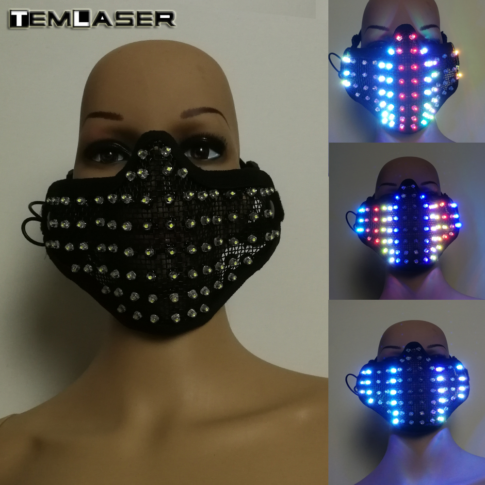 Free shipping Colorful LED Masks Hero Face Guard PVC Masquerade Party Halloween Birthday Masks LED