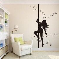 Sexy Girl Steel Tube Dancer Ballet Club Bar Branch Wall Sticker PVC Living Room Home Decor