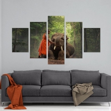 Canvas Poster Living Room Decor Framework 5 Pieces Monk And Animal Elephant Paintings Wall Art Top-Rated Print Pictures