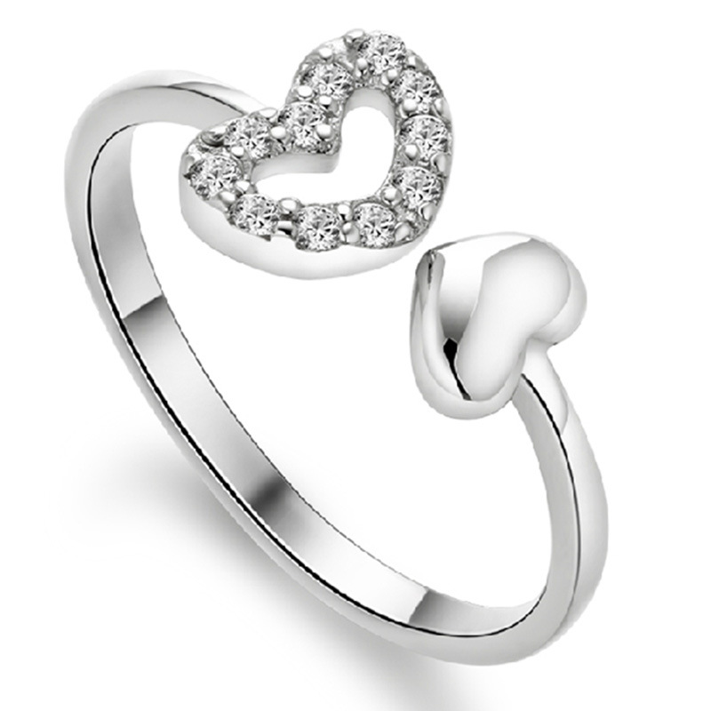 Silver Color With Double Heart Opening Ring Hollow Female Models ...
