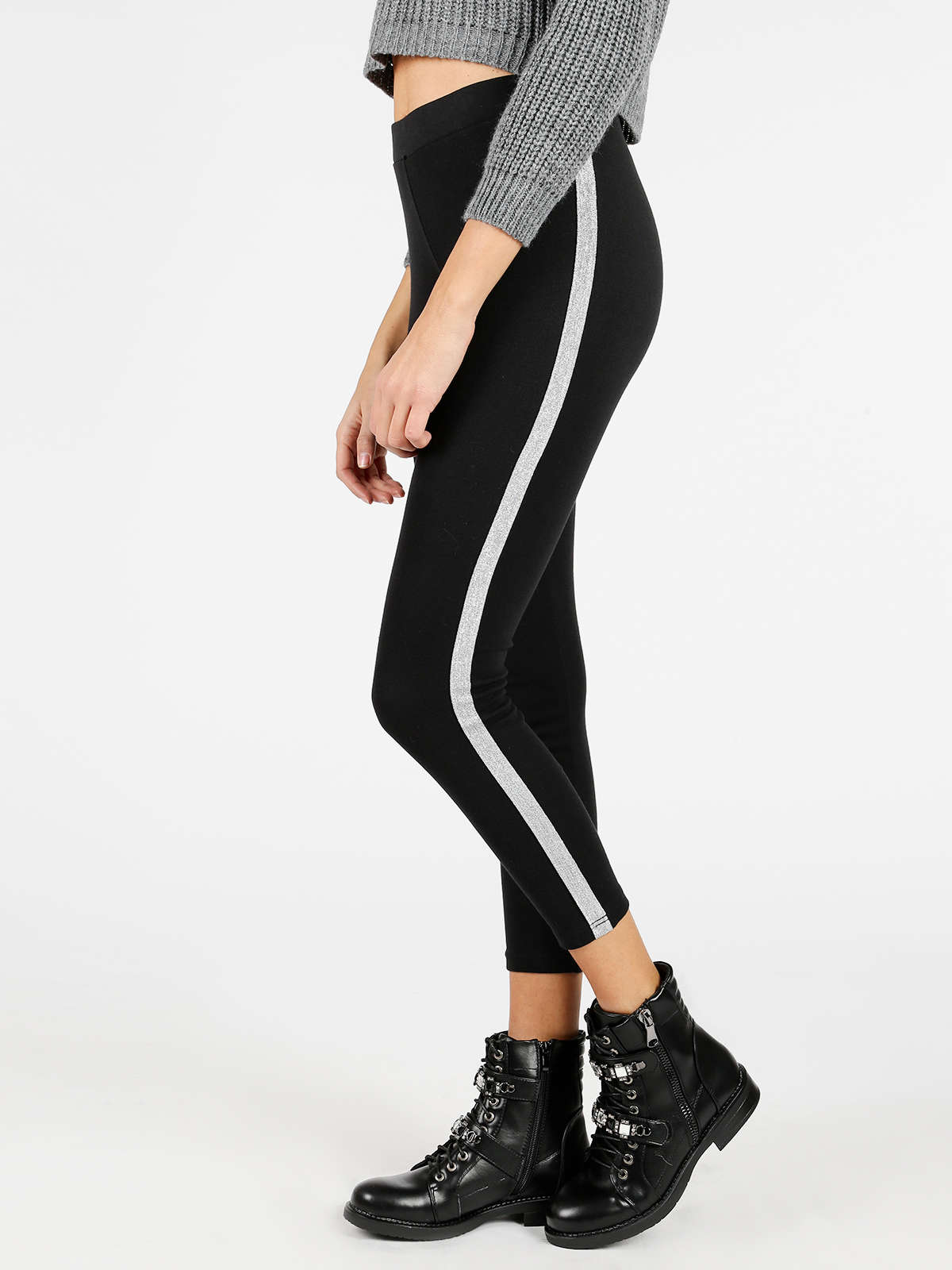 SOLADA Black Skinny Side Stripe Ankle-length Trousers