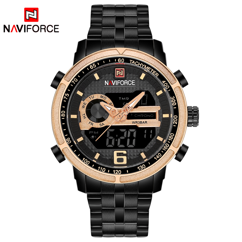 NAVIFORCE Luxury Brand Watch Men Sport Military Quartz Wrist Watch Full Steel Waterproof Clock Relogio Masculino erkek kol saatNAVIFORCE Luxury Brand Watch Men Sport Military Quartz Wrist Watch Full Steel Waterproof Clock Relogio Masculino erkek kol saat