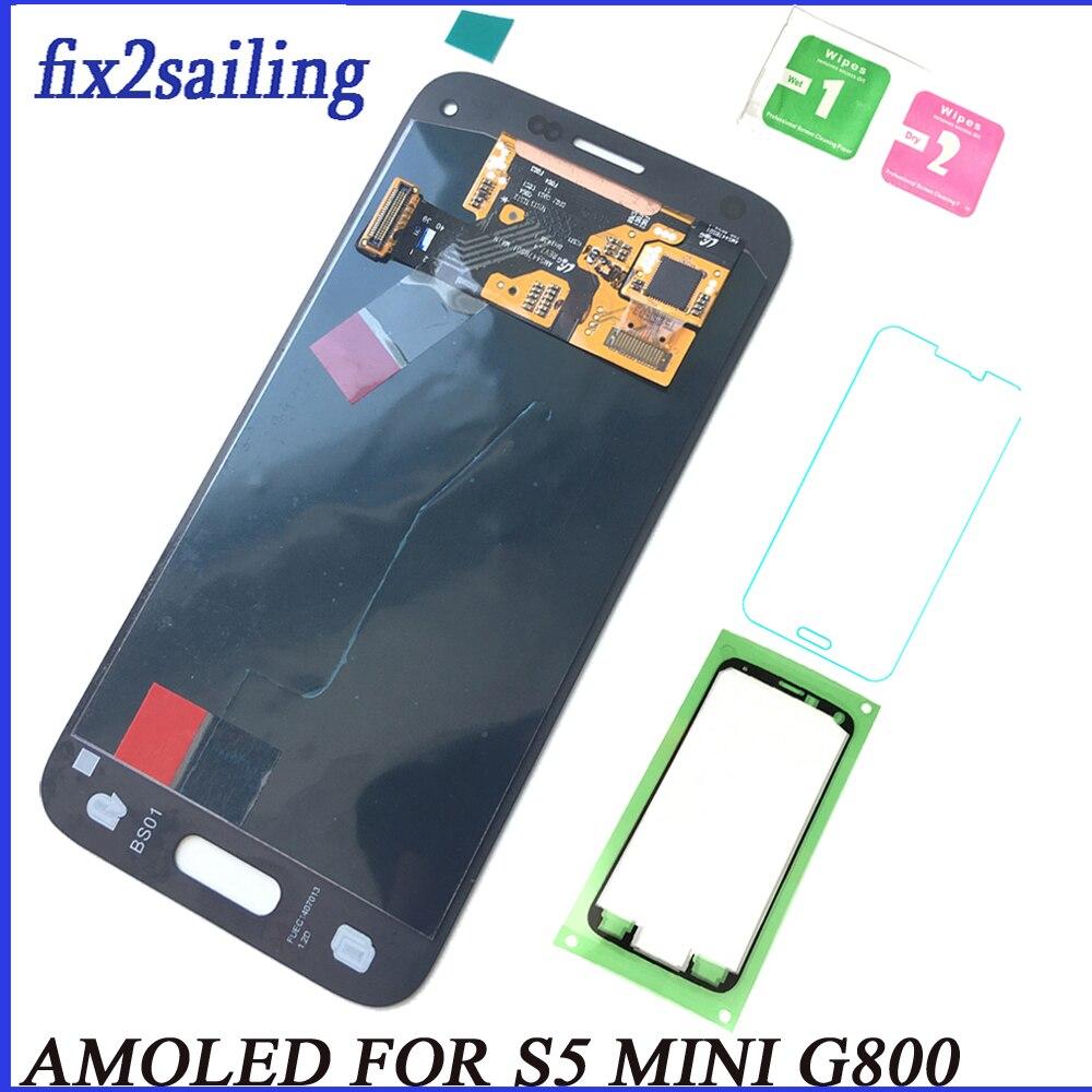 Super Amoled Pour samsung galaxy S5 mini lcd écran lcd digitizer affichage s5 mini pour samsung g800 lcd G800F G800H L'ASSEMBLÉE