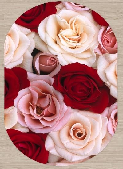 Else Red White Pink Roses Floral Flowers 3d Pattern Print Non Slip Microfiber Living Room Modern Oval Washable Area Rug Carpet