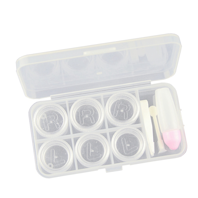 6 Grid Useful Hot Plastic Empty Contact Lens Case Jewelry Beads Packing Box Storage Container Transparent 1Set