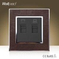 New Arrival Wallpad Hotel Rj11 Rj45 Jack Goats Brown Leather Frame Data Internet Telephone Jacks Socket