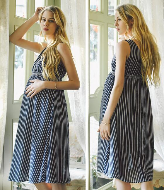 Pregnant Woman Dress Summer Maternity Deep V Sleeveless Dresses High Waist Chiffon Pregnant Woman Clothes Beach Dress