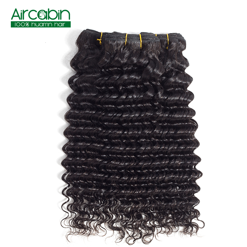 Brazilian Deep Wave Bundles Human Hair Weave Bundles 3pcs AirCabin Hair Remy Hair Extensions Natural Black