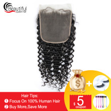 Beautiful Queen 10A Brazilian Human Hair 7x7 Deep Wave Lace Closure Natural Color Virgin Hair 130 Density Unprocessed Baby Hair(China)