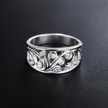 Фотография Women Vintage Shiny Silver Plated Zircon Inlaid Hollow Ring Wedding Jewelry