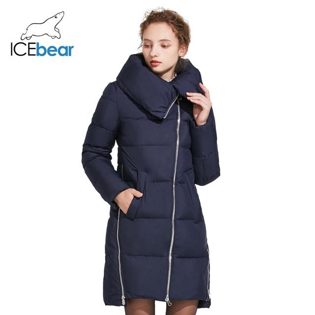 ICEbear 2017  Зимняя тёплая модная женская куртка с воротником и трикотажными манжетами из высококачественного материала на наклонной молнии 17G6191D