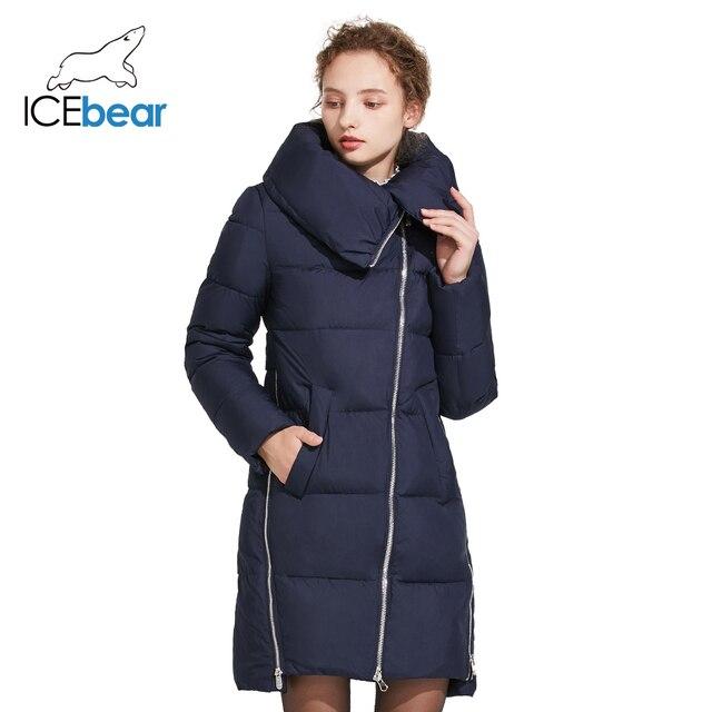 ICEbear 2018  Зимняя тёплая модная женская куртка с воротником и трикотажными манжетами из высококачественного материала на наклонной молнии 17G6191D