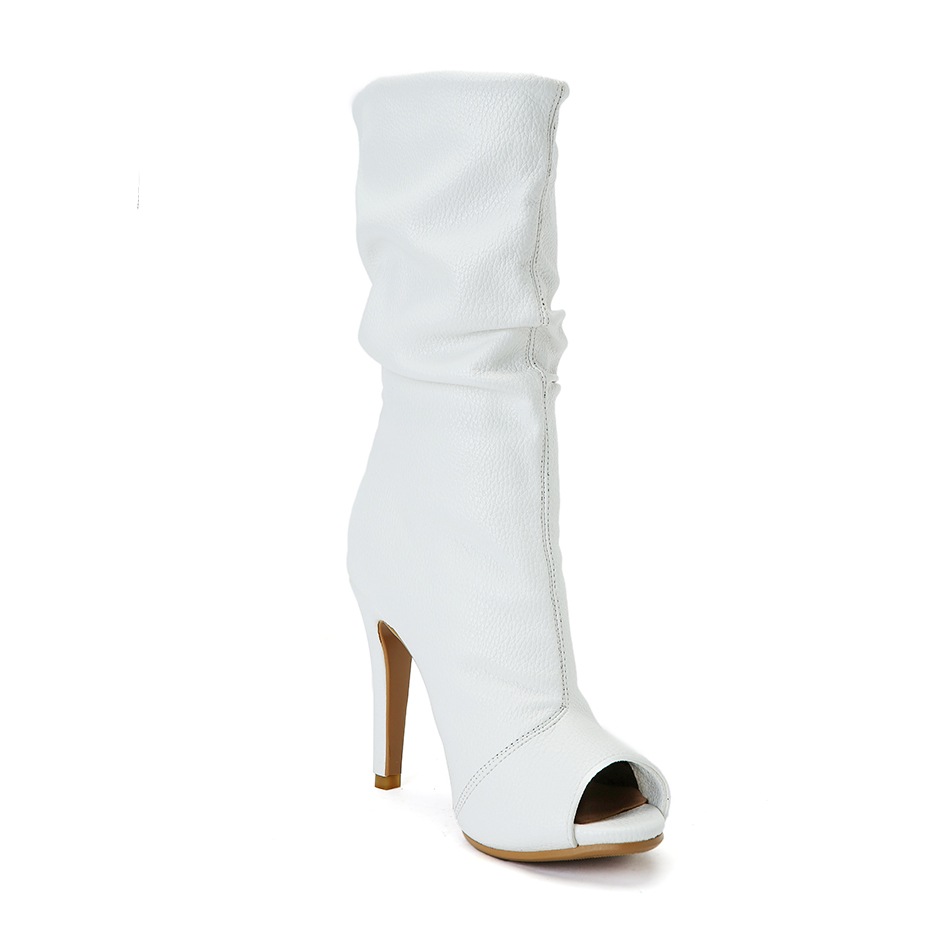 Tacones Elegante Encanto Ee Toe Mujeres uu Nueva 4 Alto Verano Tamaño Yifsion White D0234 Botas Thin Casual Peep Zapatos Llegada 15 Blanco 4w0nzAqI