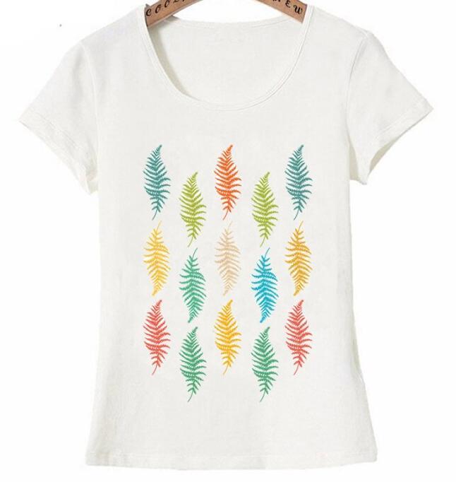 Nouveau mode femmes à manches courtes rétro feuille plumes motif imprimé T Shirt coloré Vintage Art o cou décontracté hauts mign-in T-Shirts aus Damenbekleidung bei  Gruppe 1