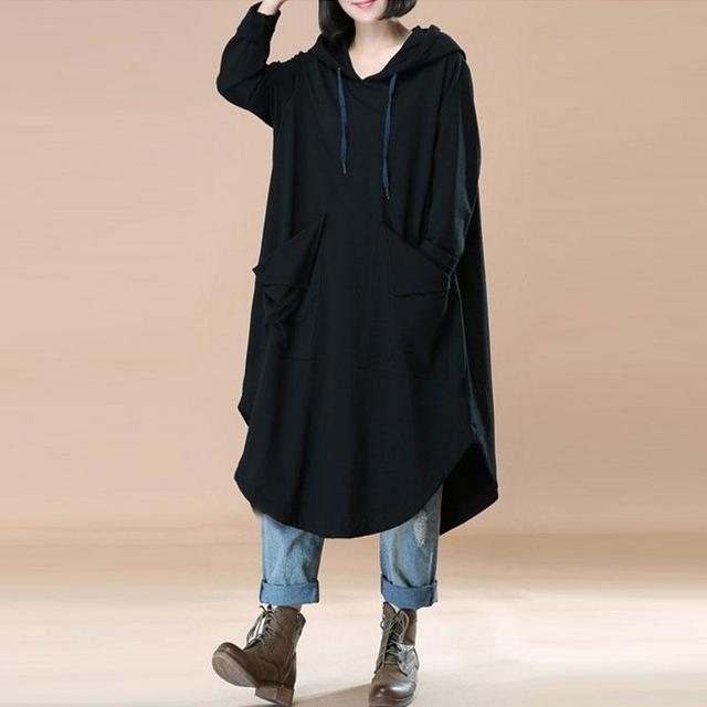 ZANZEA Fashion Women L-5XL Oversized Loose Long Sleeve Batwing Pockets Hooded Pullover Dress Sweat Sweatshirt Hoodie Plus Size