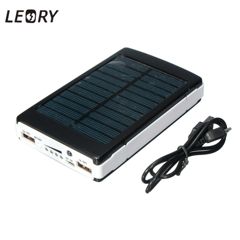 LEORY 10000mAh Dual USB Solar Panel Power Bank Monocrystalline Solar Energy Battery Charger For Phone Tablet With USB Cable