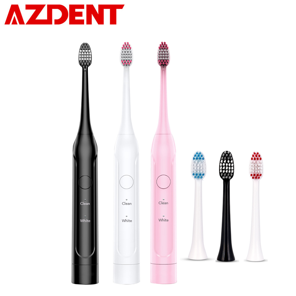 AZDENT G8 Sonic Electric Toothbrush Battery Operated No Rechargeable Tooth Brush with 2 Soft Heads Deep Cleaning 2 Modes + Timer azdent sonic electric toothbrush 4 brush heads for adult 3 cleaning modes wireless rechargeable charging power tooth brush