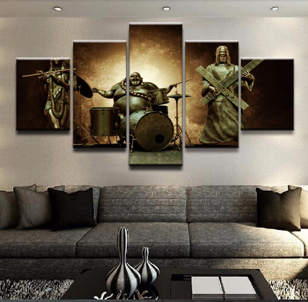 Canvas Print 5 Piece Religious Jesus And Buddha Poster