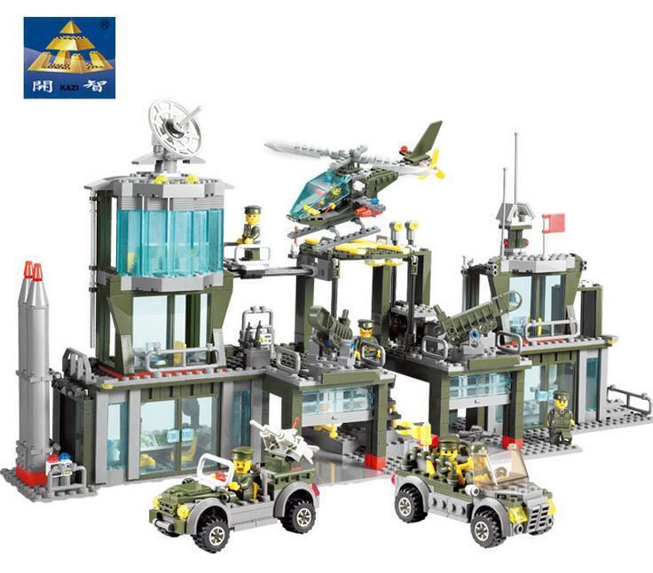 2017 NEW Military 84011 Army Headquarters Model Building Blocks Bricks Toy DIY Learning Blocks Toys for Children 8 in 1 military ship building blocks toys for boys