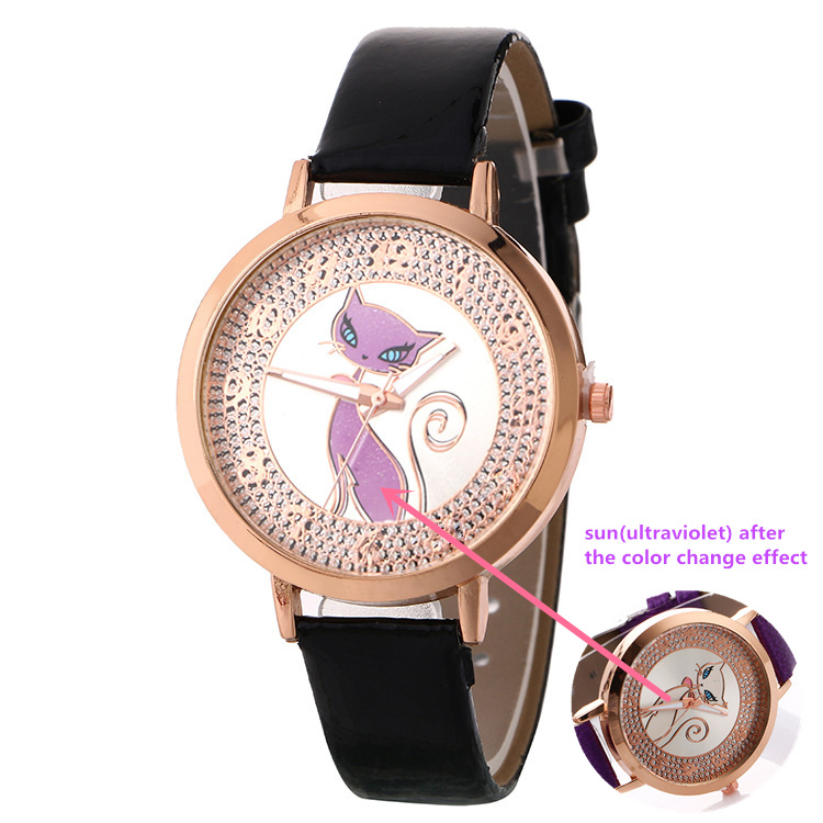 Creative Color Change Watch Women Fashion Sun Change Color Watch Women Leather Quartz Watch Relogio Feminino relogio masculino