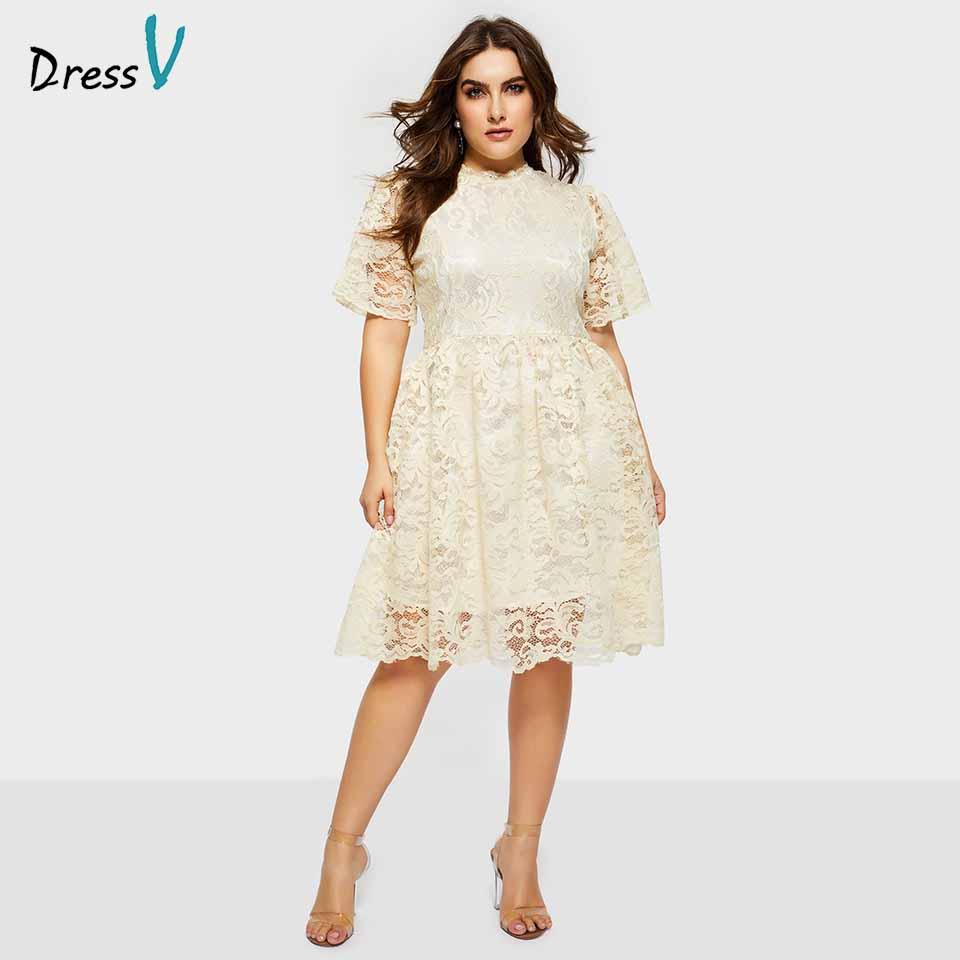 Dressv plus size lace a line cocktail dress short sleeves zipper up elegant formal party dress cheap knee length cocktail dress