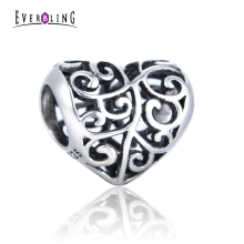 Everbling Jewelry Heart 100% 925 Sterling Silver Charm Bead Fit Pandora European  Charms Bracelet Necklace G1