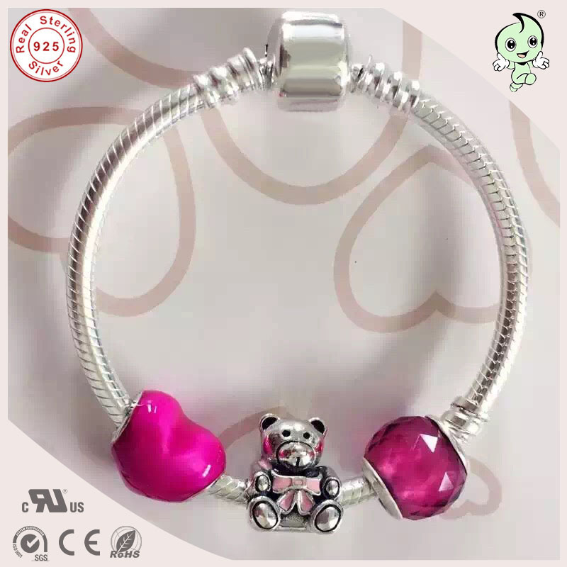 Trendy Good Quality Pink Series Style 925 Sterling Silver Baby Bracelet With Silver Cute Bear Charms For Girl Baby цены