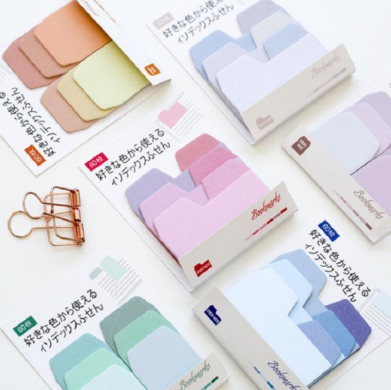 Simple Colorful Gradient Color Self-Adhesive Sticky Notes Memo Pad Bookmark School Office Supply