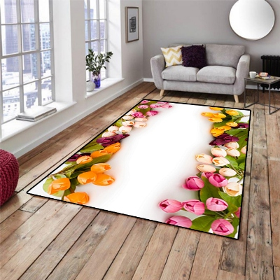 Else Red Pink Cream Tulips Ivy Flowers Floral  3d Print Non Slip Microfiber Living Room Decorative Modern Washable Area Rug Mat